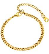 U7 Cuban Chain Bracelet for Men Women, 18K Gold Plated/Black/Stainless Steel Wrist Chain,3/6/9/12...