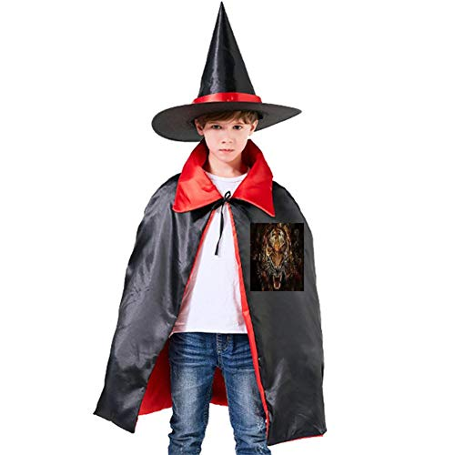 Roaring Tiger Halloween Shawl and Witch Hat for Children Kids Red -