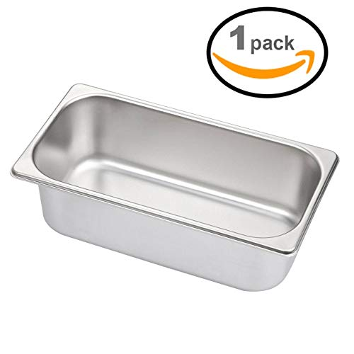 Steamer Tray Lid 3Qt 13'' 1/3 Stainless Steel Durable Heavy Duty Gauge Heating Steam Table Food Warmer Pans Lids (1 Steamer Tray) by Ematik