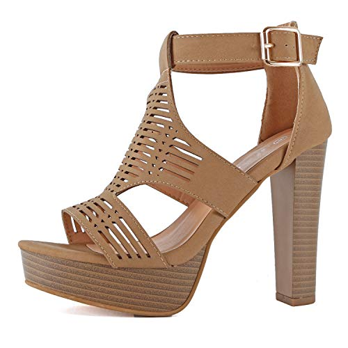 Guilty Shoes - Womens Cutout Gladiator Ankle Strap Platform High Block Heel Stiletto Heeled Sandals (8 B(M) US, Tanv8 Pu)