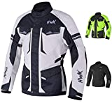 Adventure/Touring Motorcycle Jacket For Men Textile Motorbike CE Armored Waterproof Jackets ADV 4-Season (Light Grey, 4XL)