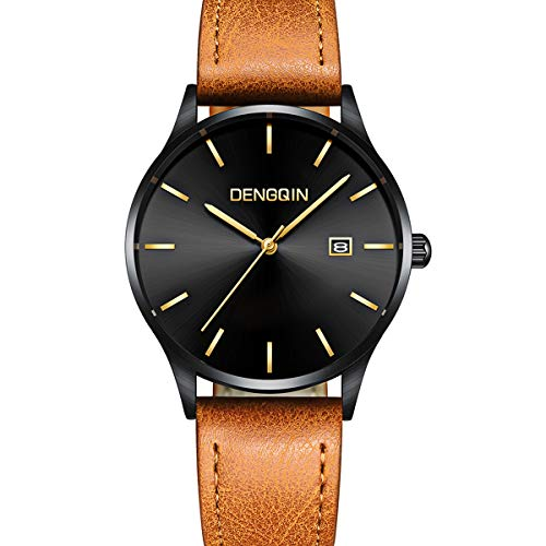 - Mens Analog Watch - Fashion Simple Minimalist Watch - Leather Classic Watches - Quartz Business Stainless Steel Ultrathin Wrist Watch Calendar Date Window Brown