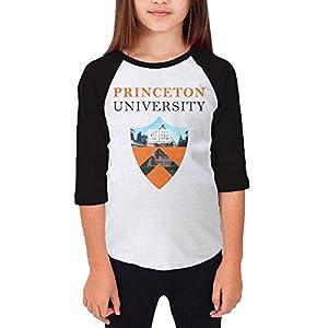 Amone Teenager Girl Baseball Raglan Princeton Logo University Tee Black M