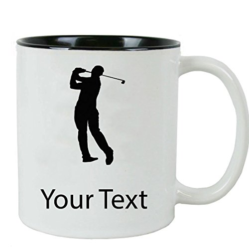Personalized Custom Male Golfer, Golf 11 oz White Ceramic Coffee Mug with White Gift Box