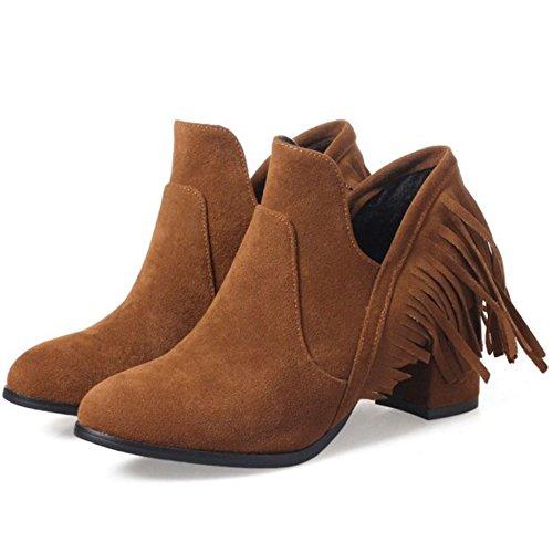 Moyen Bottes Chaussures Frangées À Confortable Femme Talon Razamaza Jaune qPUxwSp