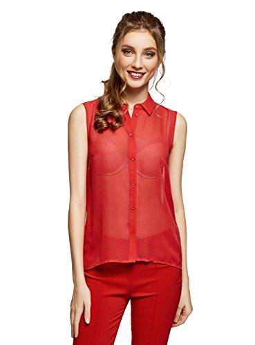 Top oodji Femme Fluide Rabattu Tissu Ultra en 4500n Rouge Col rr6qx7w