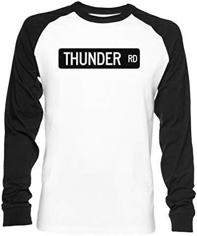Thunder Road Street Sign Unisex Camiseta De Béisbol Manga Larga Hombre Mujer Blanca Negra: Amazon.es: Ropa y accesorios