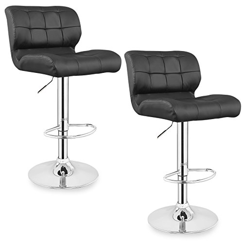 Leick 10104BL Patch Tufted Faux Leather Swivel Bar Stool (Set of 2), Black