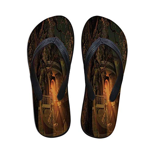 (Fantasy Women Flip Flops,Enchanted View with Elven Boat Floral Tree Fairytale Night Design for Walking Hiking,US Size 7)