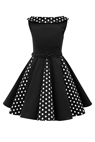 BlackButterfly Kids 'Alexia' Vintage Polka Dot 50's Girls Dress (Black, 9-10 YRS)]()