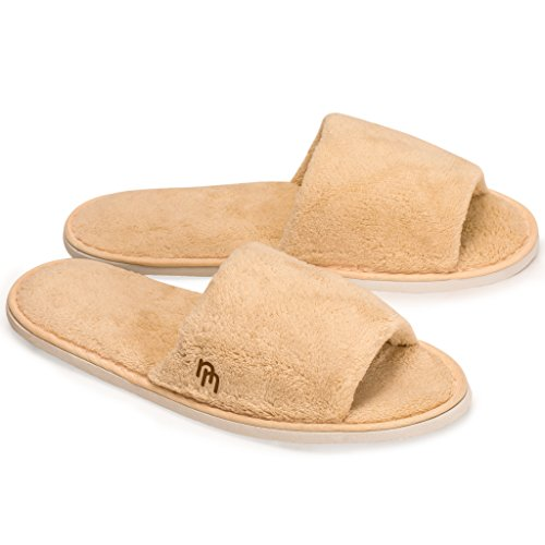 Nicely Neat 12 Pack Woodland Open Toe Coral Fleece Home and Travel Slipper - Medium