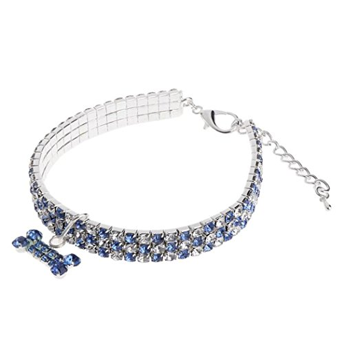 Meflying Rhinestone Collar for Dog Bone-shaped Pendant Perfect for Show and Daily Walking Basic Collars