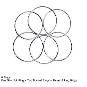 "Enjoyer Chinese Linking Rings Set of 3 Metal Rings,Magnetic Lock 12"", Professional Stage Magic Trick, Classic Party Show Magic"