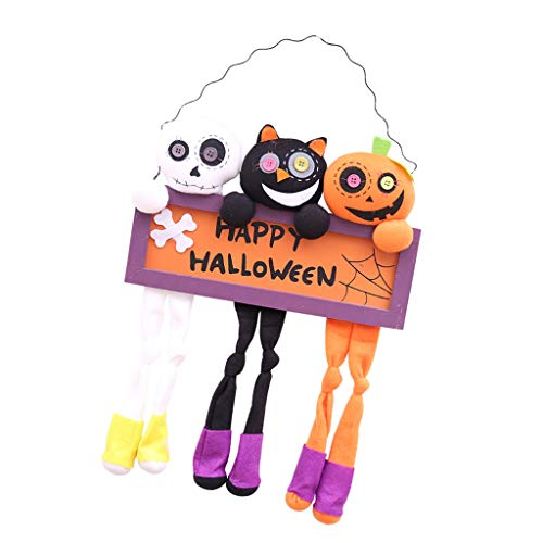 Prettyia Happy Halloween Wall Signs Wood Hanging Plaque Pumpkin Skull Door Decor Prop (Happy Halloween Plaque)
