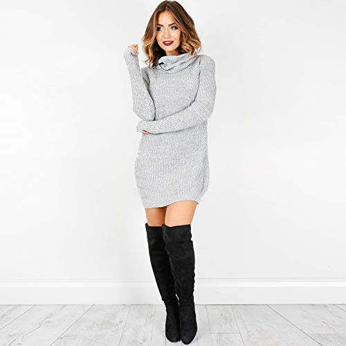 Vestido Cuello Blusa Women De Gray Mini Manga Suéteres Sweater Casual Larga mujeres Alto Chaqueta Jersey fq7ayf