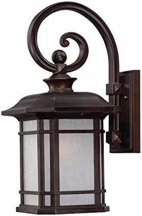 Designers Fountain 30511-AM-BZ Westchester Collection 1-Light Exterior Wall Lantern, Bronze Finish with Amber Glass