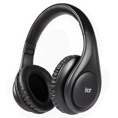 iJoy ISO Wireless, Bluetooth Headphones-Cordless Over Ear Stereo Headset- Bluetooth 5.0, 30HR Battery Built-in Microphone- Handsfree or Wired Use, Foldable (Matte Black)