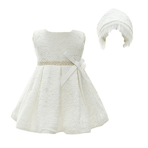 Baby Girls Floral Lace Christening Gown Sleeveless Embroidered Baptism Dress With Bonnet White Size ()