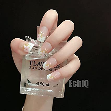 echiq 24pcs Beige francés artificial uñas postizas color rosa Lily flores flor con purpurina de oro