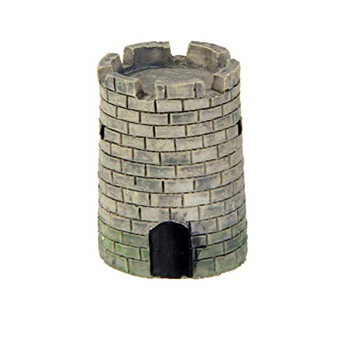 longdelaY6 Garden Statue Outdoor, Resin Round Square Mini Castle Tower Ornament Bonsai Landscape Craft DIY Decor - Circular