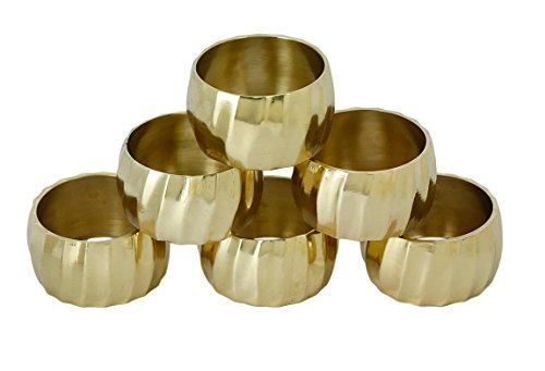 Shalinindia Set of 6 Polished Napkin Rings Brass - 1.5 Inches - 35 Grams - Lightweight - Perfect for Daily Use or Dinner Parties - Great as a Housewarming ()