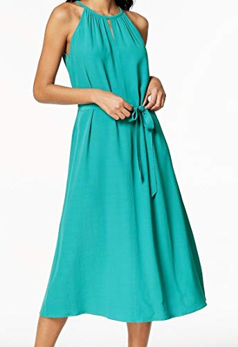 Eileen Fisher Women Large Belted Sleeveless Sheath Dress Greens