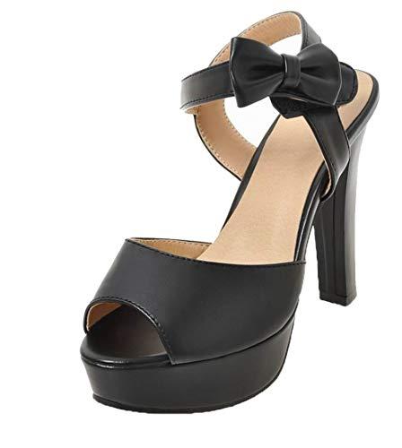 Sandales Unie Couleur Velcro à Femme GMBLB015361 Haut AgooLar Noir Talon a0HHqF