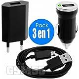 Chargeur wiko rainbow jam 4g , chargeur secteur + chargeur voiture + câble USB pour rainbow jam 4g pack 3 en 1