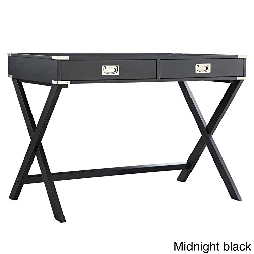 iNSPIRE Q Kenton X Base Wood Accent Campaign Writing Desk Modern Black Black Finish by Chelsea Lane