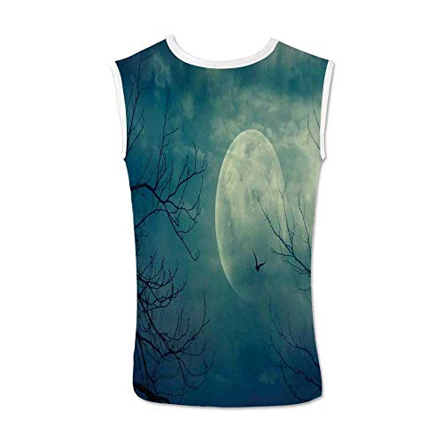 (Horror House Decor Comfortable Tank Top,Halloween with Full Moon in Sky and Dead Tree Branches Evil Haunted Forest for Men,M)