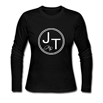 Women's Justin Timberlake JT Logo Long Sleeve T Shirt-Black