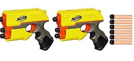 Origional Nerf Gun/ Nerf Zombie Strike Rough Cut 2 Pack Green & Orange  Blasters + 24 Darts Ammo