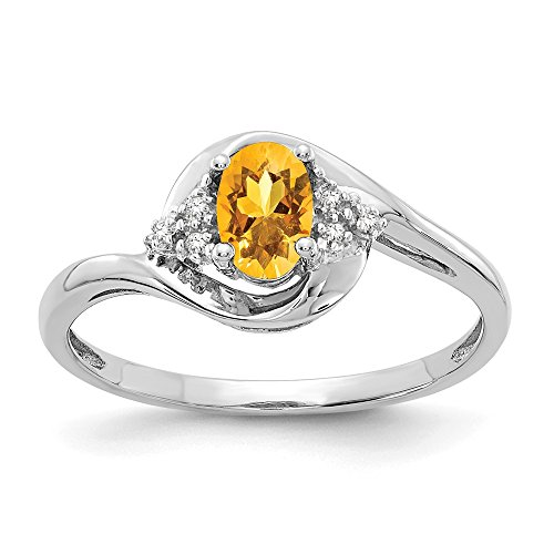 14k White Gold Yellow Citrine Diamond Band Ring Size 7.00 Stone Set Birthstone November Fine Jewelry Gifts For Women For Her