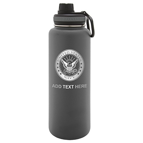 Us Army Ice - Army Force Gear Personalized US Navy Logo Custom Laser Engraved Thermoflask Leak Proof Insulated Stainless Steel Workout Sports Water Bottle Tumbler, 24 Oz, Gray