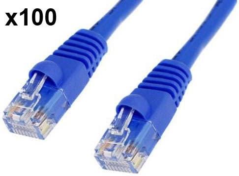 BattleBorn 100 Pack Lot 7ft Cat5e Cat5 Ethernet Network LAN Patch Cable Cord RJ45 Blue