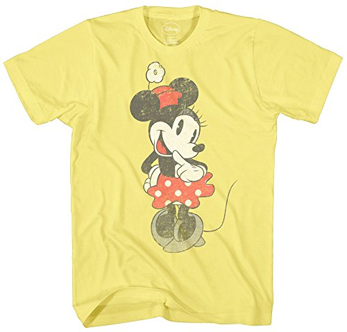 SHY Minnie Mouse Graphic Tee Classic Vintage Disneyland World Mens Adult T-Shirt Apparel (Small, Pale Yellow) - Vintage Mickey Mouse T-shirt