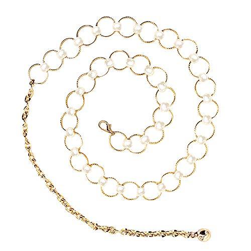Rebecca Fashion Womens Metal Chain Dress Belt Decorated Skinny Waist Belt Waistband Dress Accessory (Gold 03)