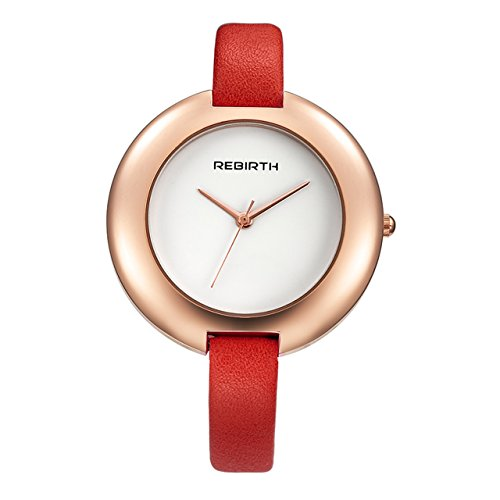 Top Plaza Ladies Red Fashion Big Face Watch Analog Quartz Thin PU Leather Blank Space Dial Daily Waterproof by Top Plaza