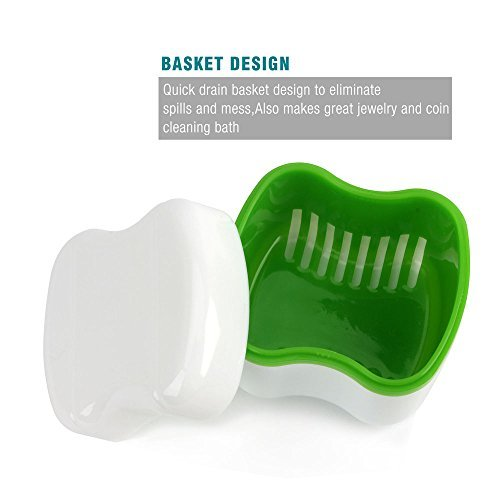 MS.DEAR MINI Denture Case with Strainer, Denture Case Travel, Denture Bath Case with Basket Attractive Durable Design