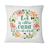 alerie Sassoon Personalised Floral Wreath Cushion Pillow Cover Throw Bible Verse Christian Gift God is Within her she Will not Fall Psalm 465