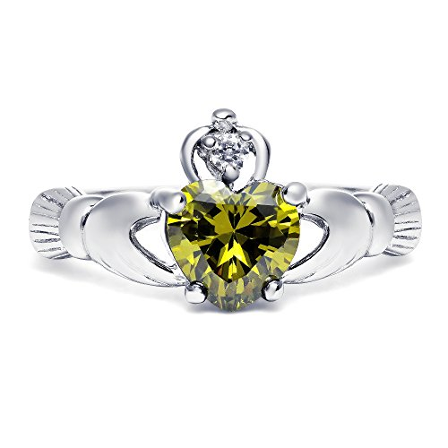 Sterling Silver Simulated Green Peridot Claddagh Promise Ring For Her, 8mm (7) ()