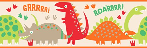 Fun4Walls BO50058 Dino Red Peel and Stick Border (Dinosaur Wall Border)