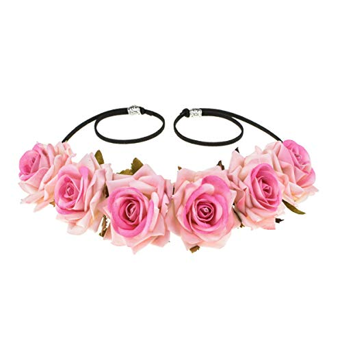 (Floral Fall Rose Red Rose Flower Crown Woodland Hair Wreath Festival Headband F-67 (Baby Pink))