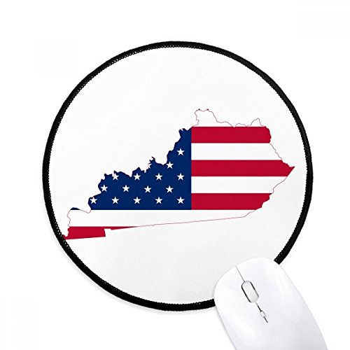 Kentucky USA Map Stars Stripes Flag Shape Round Non-Slip Mousepads Black Titched Edges Game Office Gift