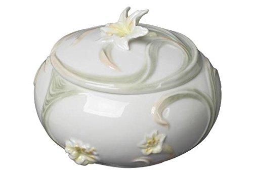 Yellow Round Gold Tiger (4.25 Inch Glazed Porcelain Round Yellow Tiger Lily Trinket Box)
