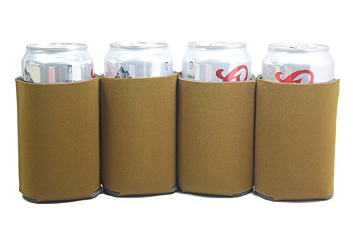 Premium Blank Can Coolers Sleeves Soft Drink Collapsible Insulator Coolers (25, Brown)