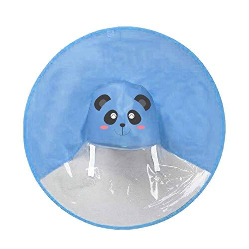 (Raincoat for Kids Umbrella Hat Rain Jacket Cartoon Shaped Lightweight Magical Rainwear (M, Blue) )