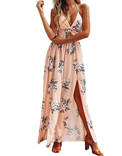 RUEWEY Women Halter Deep V Neck Floral Split Backless Long Maxi Dress Sundress (S, Orange)