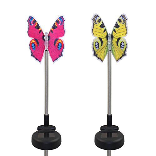 CST Lighting Pack of 2 Solar Color Changing LED Light Lawn Garden Yard Stakes-Fiber Optic Butterfly