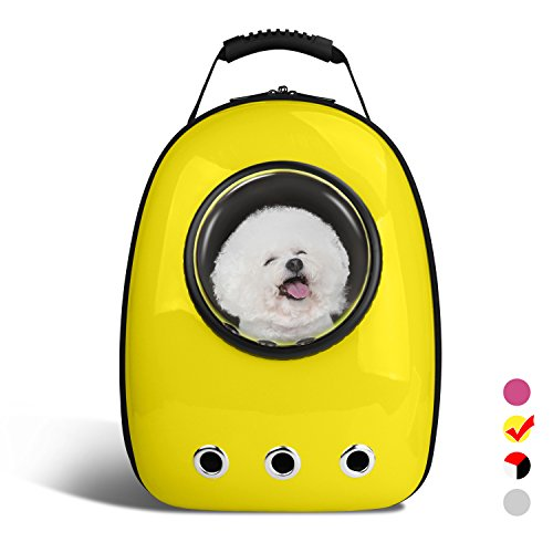 AntTech Breathable Pet Carrier Backpacks Travel Backpack Space Capsule Carrier Bag Hiking Bubble Backpack for Cat & Dog Puppy-Yellow
